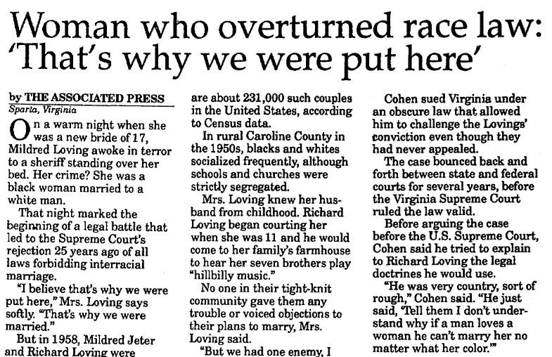 article about Richard and Mildred Loving, St. Albans Daily Messenger newspaper article 28 October 1992