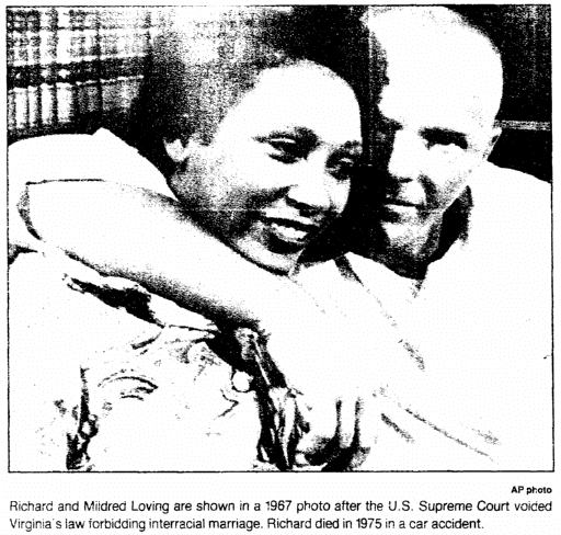photo of Richard and Mildred Loving, Trenton Evening Times newspaper article 1 November 1992