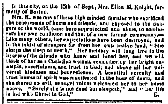 obituary for Ellen Knight, Weekly Alta California newspaper article 19 October 1850