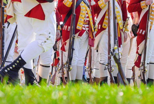 battle of lexington soldiers on field reenactment