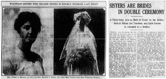 article about a double wedding, Boston Journal newspaper article 1 July 1914
