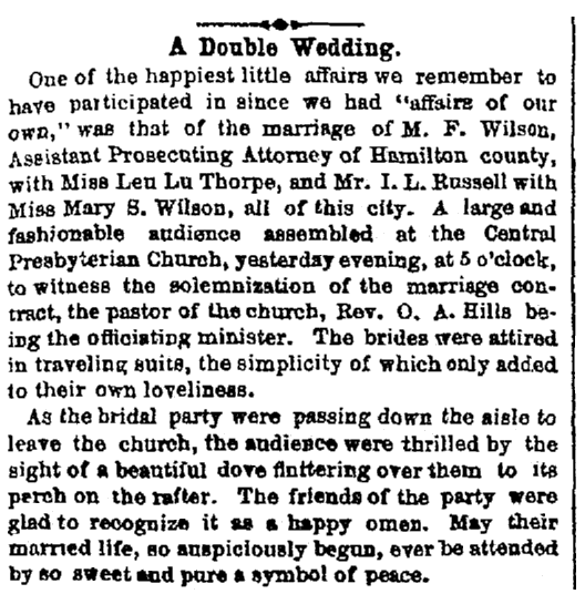 article about a double wedding, Cincinnati Daily Gazette newspaper article 2 October 1867