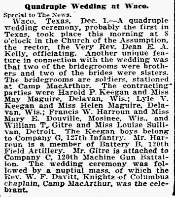 article about a quadruple wedding, Dallas Morning News newspaper article 2 December 1917