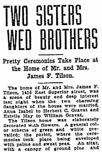 article about a double wedding, Duluth News-Tribune newspaper article 7 June 1906