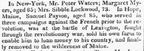 obituary for Samuel Payson, Franklin Gazette newspaper article 22 July 1819