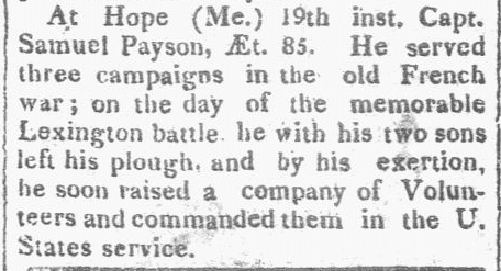 obituary for Samuel Payson, Hallowell Gazette newspaper article 21 July 1819