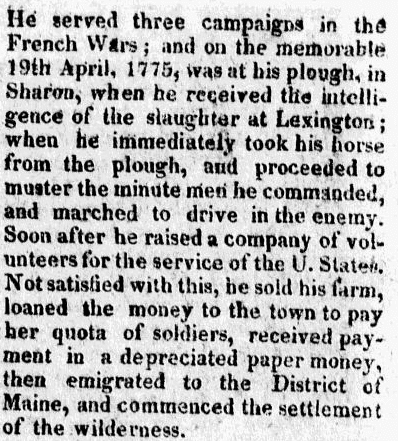 obituary for Samuel Payson, Hampden Federalist newspaper article 21 July 1819