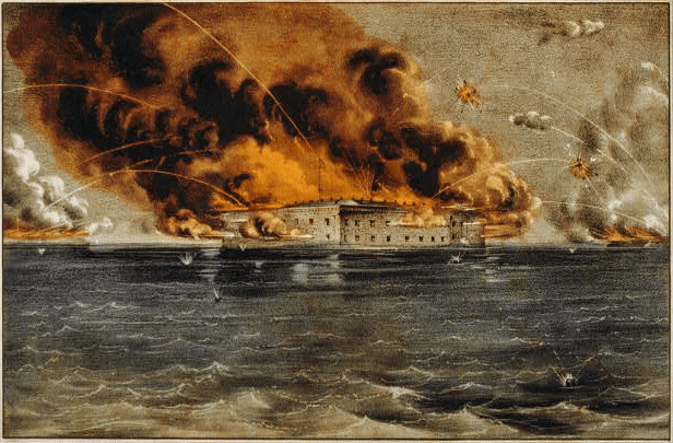 "Painting: ""Bombardment of Fort Sumter"" by Currier & Ives"