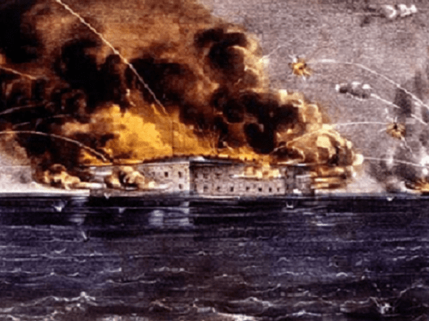 "Illustration: ""Bombardment of Fort Sumter"" by Currier & Ives. Credit: Wikimedia Commons."