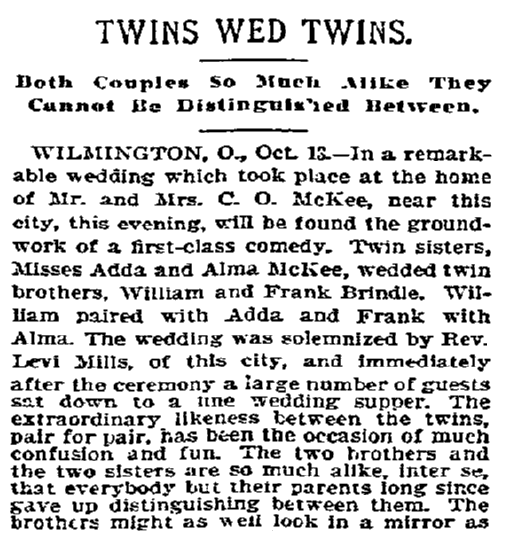 article about a double wedding of twins marrying twins, Indiana State Journal newspaper article 19 October 1898