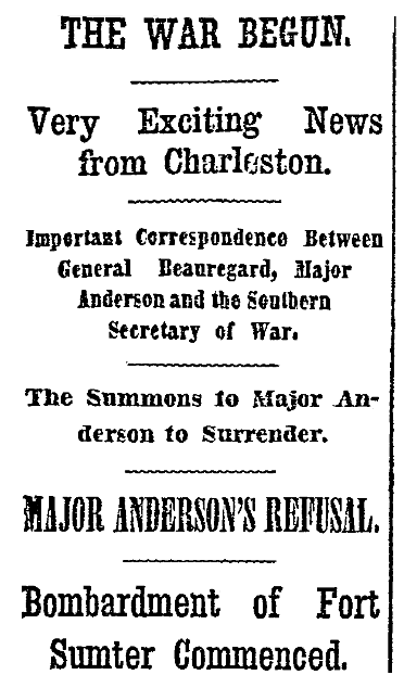 article about the attack on Fort Sumter that began the Civil War, New York Herald newspaper article 13 April 1861