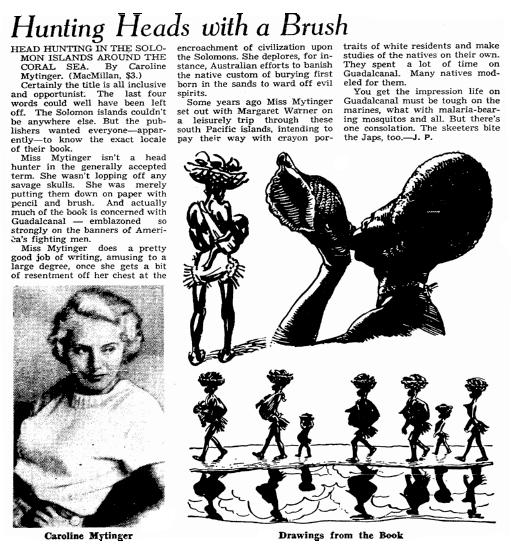 article about Caroline Mytinger, Omaha World-Herald newspaper article 3 January 1943