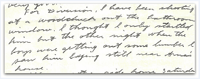 A photo of a letter from Thomas Jay Kemp's grandmother