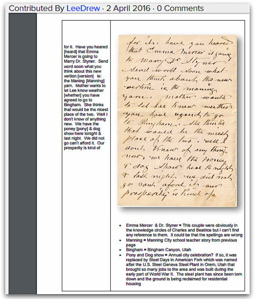 photo of an old family letter transcribed & uploaded by Lee Drew