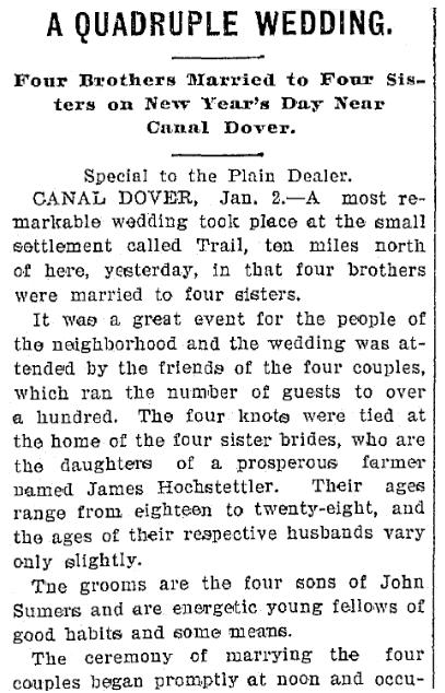 article about a quadruple wedding, Plain Dealer newspaper article 3 January 1899