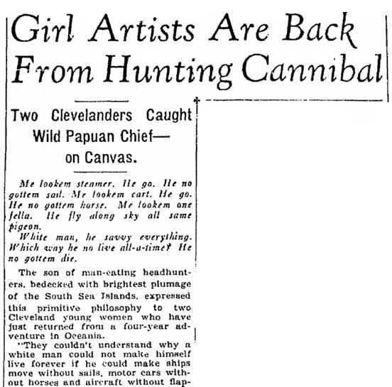 article about Margaret Warner and Caroline Mytinger, Plain Dealer newspaper article 10 February 1930