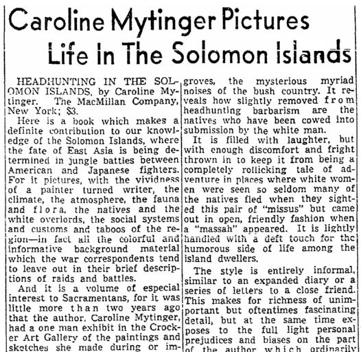 article about Caroline Mytinger, Sacramento Bee newspaper article 16 January 1943