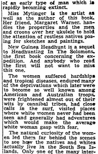 article about Caroline Mytinger, Sacramento Bee newspaper article 1 February 1947