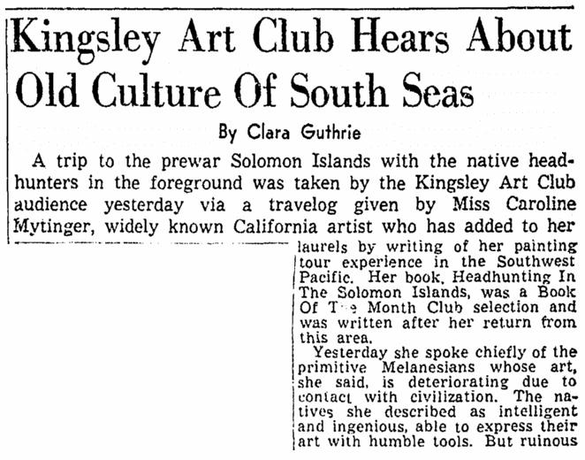 article about Caroline Mytinger, Sacramento Bee newspaper article 6 April 1944
