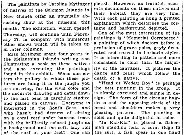 article about Caroline Mytinger, Seattle Daily Times newspaper article 13 January 1935