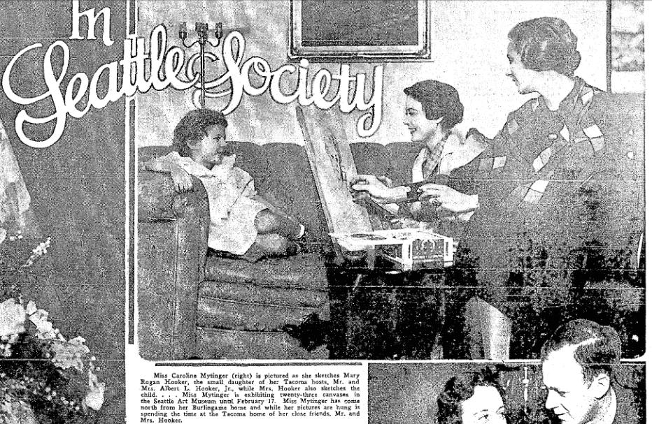 photo of Caroline Mytinger, Seattle Daily Times newspaper article 3 February 1935