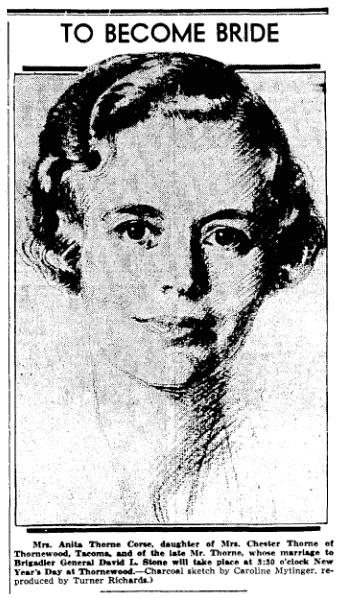 portrait of Anita Thorne Corse by Caroline Mytinger, Seattle Daily Times newspaper article 22 December 1935