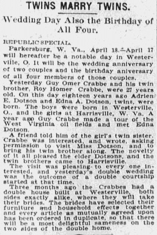 article about a double wedding of twins marrying twins, St. Louis Republic newspaper article 19 April 1900