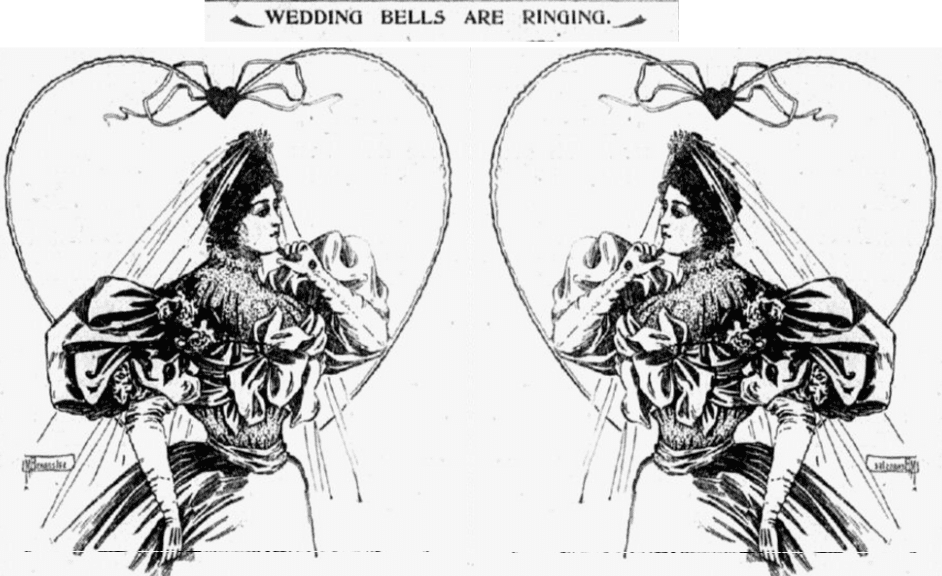 illustration of a bride from an article about weddings, Tacoma Daily News newspaper article 16 November 1895