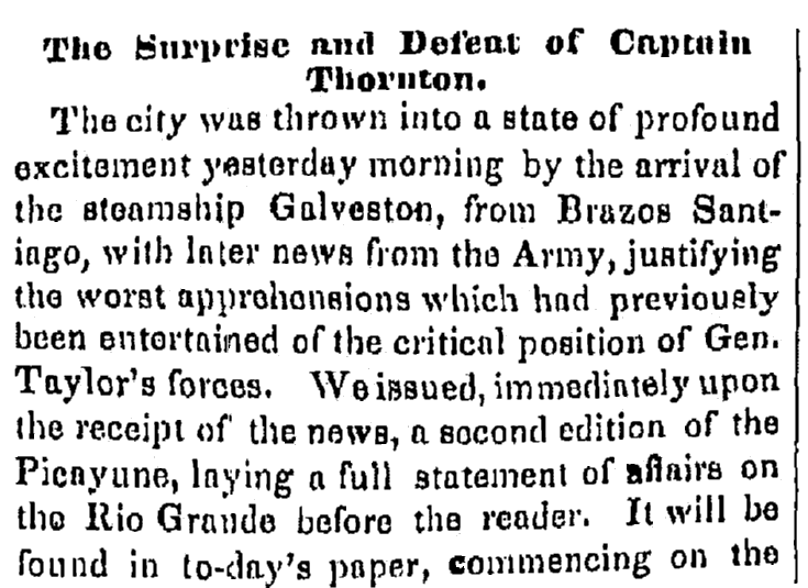 article about the Thornton Affair, Times-Picayune newspaper article 3 May 1846