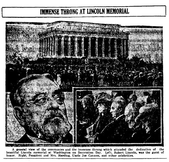 an article about the Lincoln Memorial, Augusta Chronicle newspaper article 10 June 1922