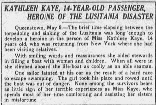 article about Kathleen Kaye, a hero of the Lusitania disaster, Boston Journal newspaper article 10 May 1915
