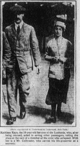 article about Kathleen Kaye, a hero of the Lusitania disaster, Boston Journal newspaper article 24 May 1915