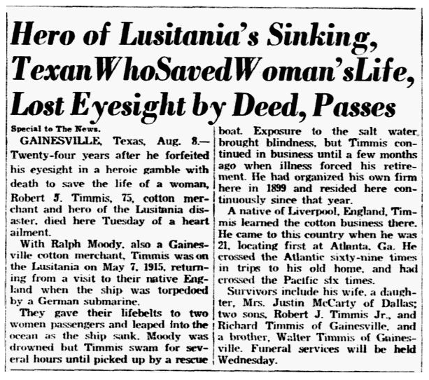 obituary for Robert James Timmis, a hero of the Lusitania disaster, Dallas Morning News newspaper article 9 August 1939