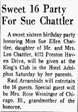 article about Sue Chattler, Dallas Morning News newspaper article 30 October 1959