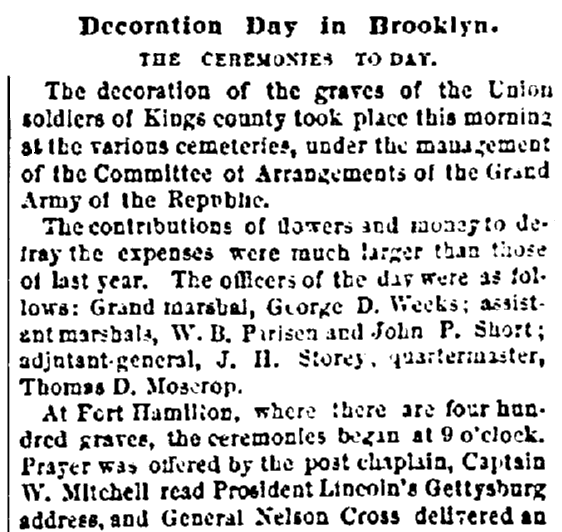 an article about Decoration Day, Evening Post newspaper article 31 May 1869