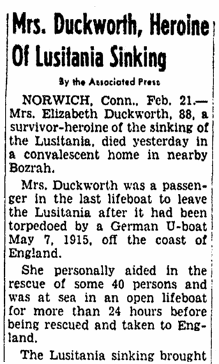 obituary for Elizabeth Duckworth, a hero of the Lusitania disaster, Evening Star newspaper article 21 February 1955