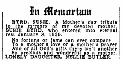 memorial to Susie Byrd, Evening Star newspaper article 9 May 1943