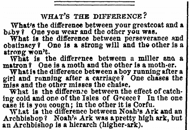 an article about jokes, Frank Leslie's Illustrated Newspaper article 26 March 1864