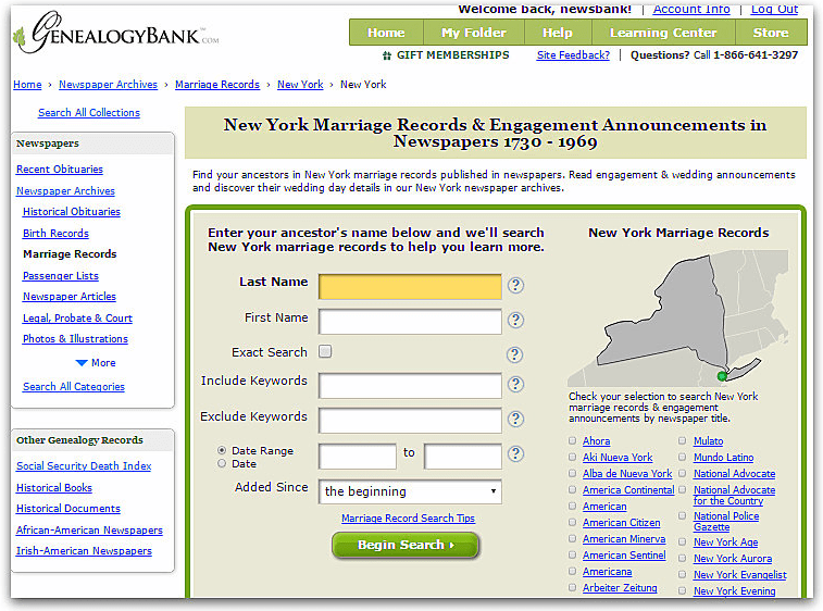 New York City Marriage Indexes Online