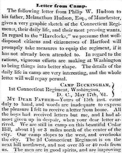 article featuring a letter from Civil War soldier Philip W. Hudson, Hartford Daily Courant newspaper article 22 May 1861