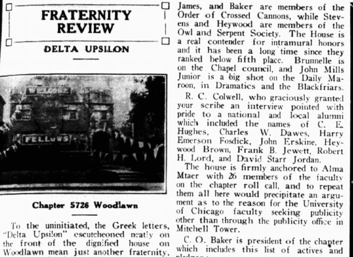 an article about the college fraternity Delta Upsilon, Hyde Park Herald newspaper article 30 May 1930