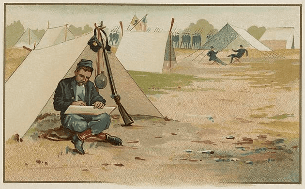 Illustration: Union soldier drawing in front of his tent, by C. W. Reed and Louis K. Harlow