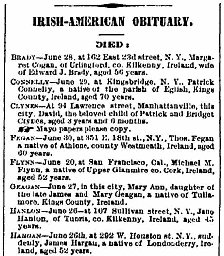 Irish American obituaries, Irish American Weekly newspaper article 10 July 1880