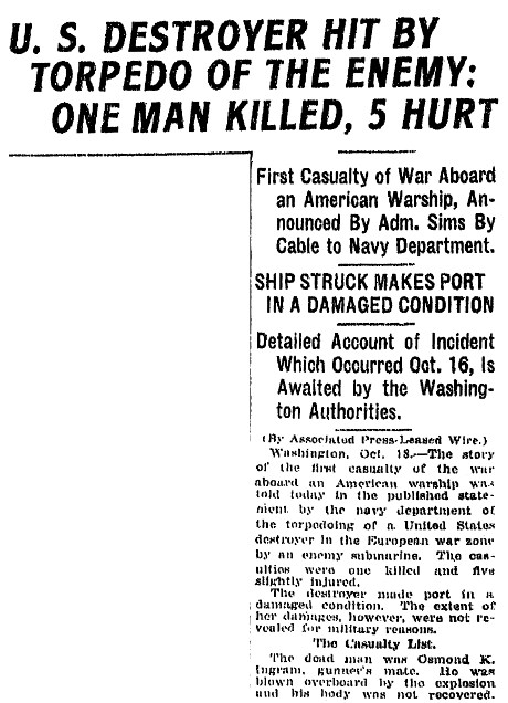 article about the USS Cassin being attacked during WWI, Jackson Citizen Patriot newspaper article 18 October 1917