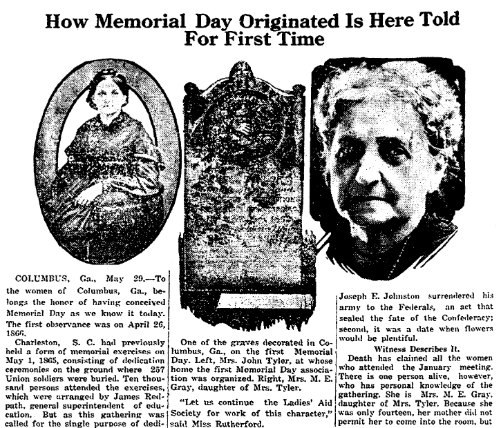 an article about Memorial Day, Miami District Daily News newspaper article 29 May 1922