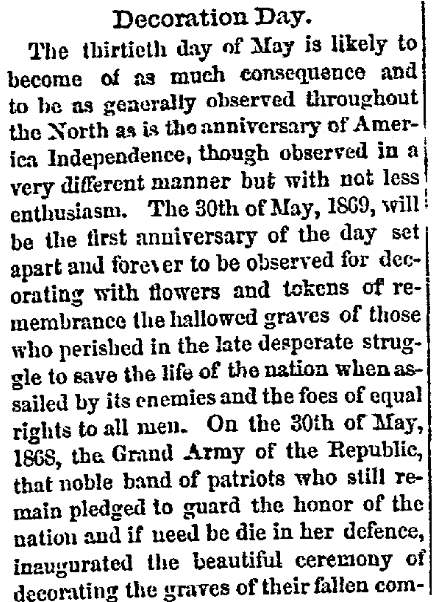 an article about Decoration Day, New Hampshire Sentinel newspaper article 13 May 1869