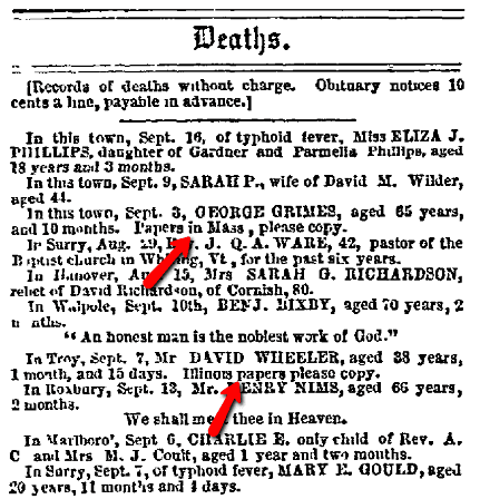 death notices, New Hampshire Sentinel newspaper article 21 September 1865