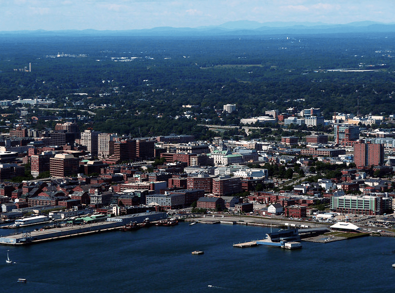 Photo: Old Port area of Portland, Maine, with the White Mountains visible in the background