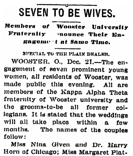 an article about women at Wooster University engaged to be married, Plain Dealer newspaper article 22 December 1906