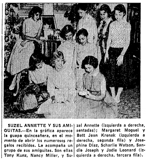 article about Suzel Annette, Prensa newspaper article 24 April 1955